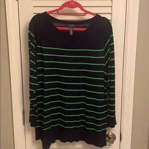 Ralph Lauren thin Navy sweater with green stripes
